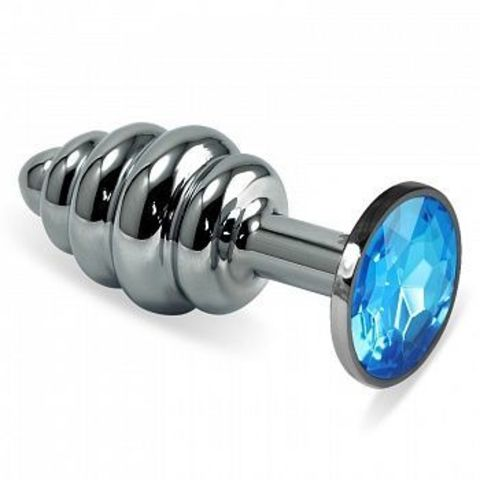 Серебристая фигурная анальная пробка с голубым кристаллом - 9 см.