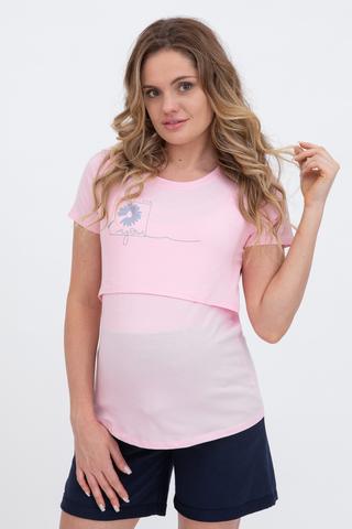 Футболка для беременных и кормящих 10590 розовый