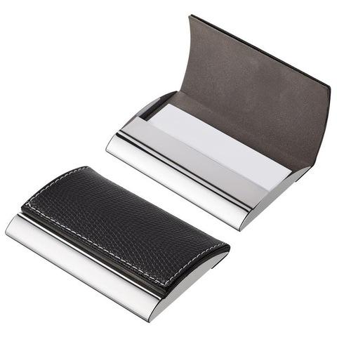 Визитница карманная на 20 визиток из металла/искусственной кожи черного цвета (80100)