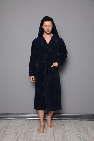 Мужской велюровый халат с капюшоном 1260 синий Nusa Турция.