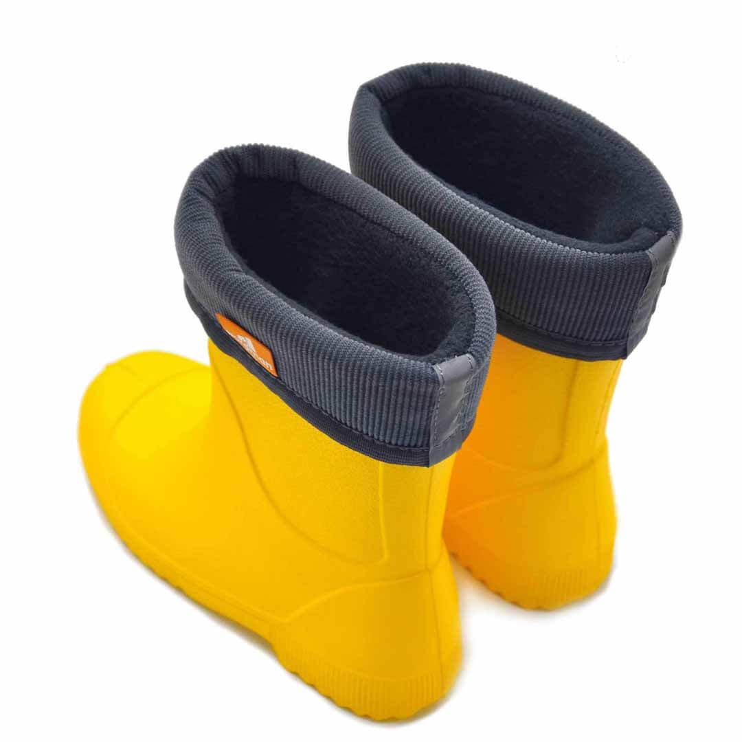 Детские резиновые сапоги из ЭВА Nordman Jet Желтые с флисовым утеплителем
