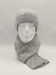 Мужской комплект шапка с отворотом и шарф, светло-серый