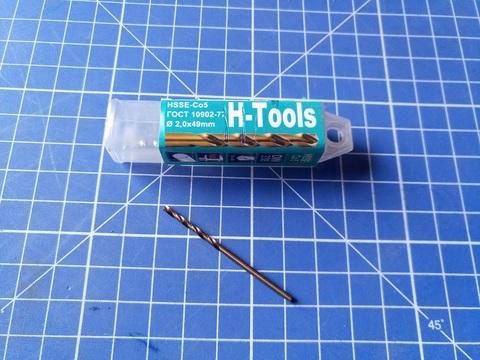 Сверло по металлу ц/x 2,0x46/24мм DIN338 h8 5xD HSSE-Co5 VA 135° H-Tools 1060-1020