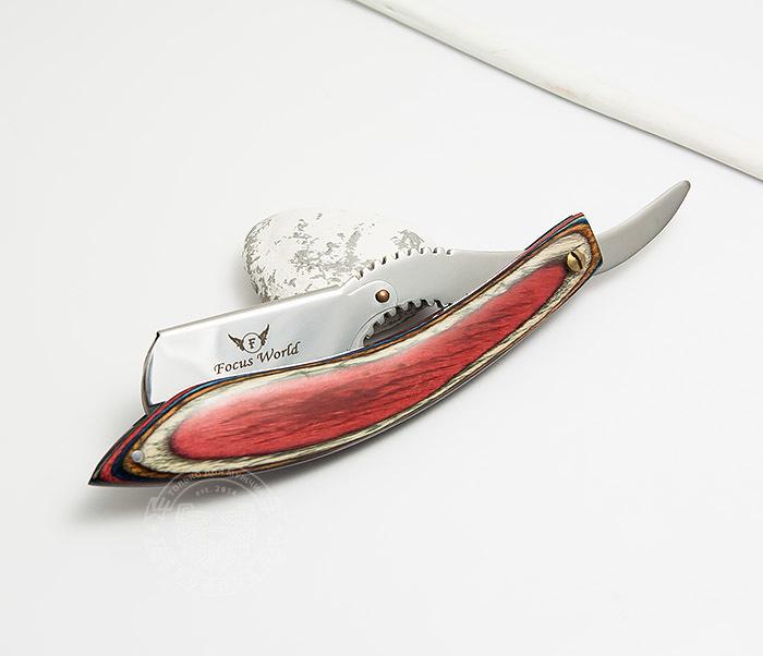 RAZ268-4 Бритва шаветка с красивой красной рукояткой из дерева