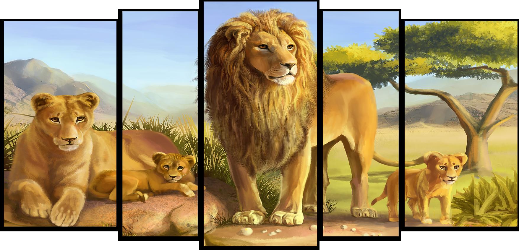 """Животные Модульная картина """"Львиное семейство"""" М538.png"""