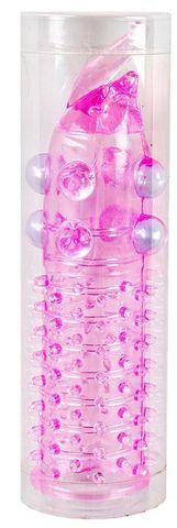 Розовая насадка на фаллос с закрытой головкой и шишечками - 10 см.