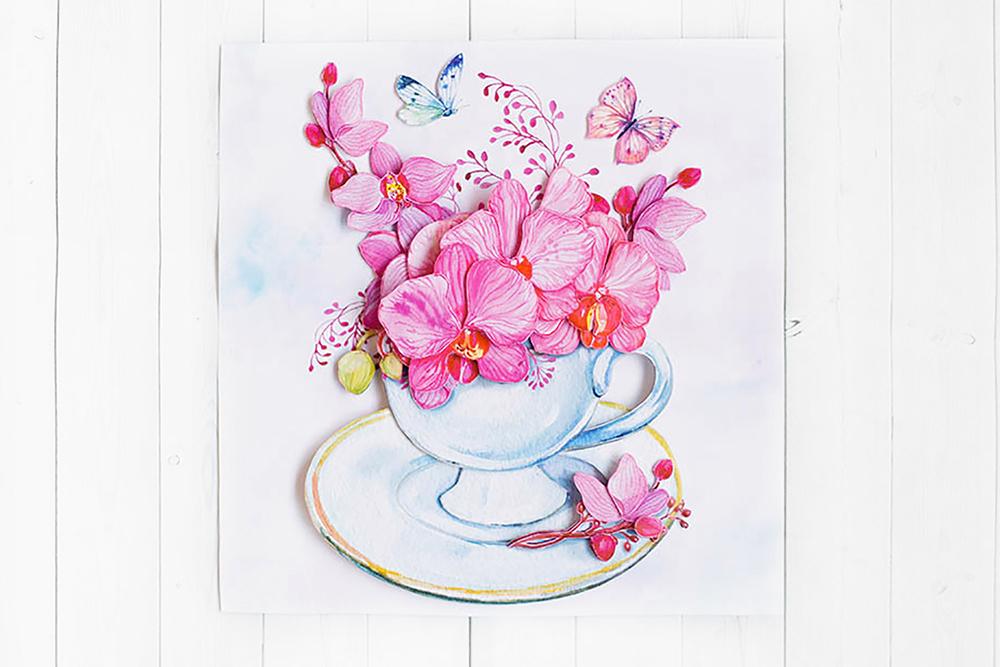 Розовые орхидеи - готовая работа, фронтальный вид.