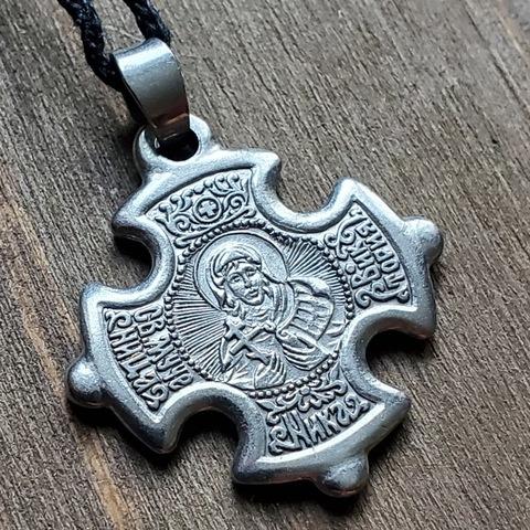 Нательная именная икона святая Виктория (Ника) с Распятием посеребренная  в кресте
