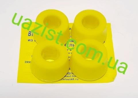 Втулка амортизатора Уаз 452, 469, Патриот, Хантер полиуретан (4 штуки) жёлтая (пр-во Липецк)