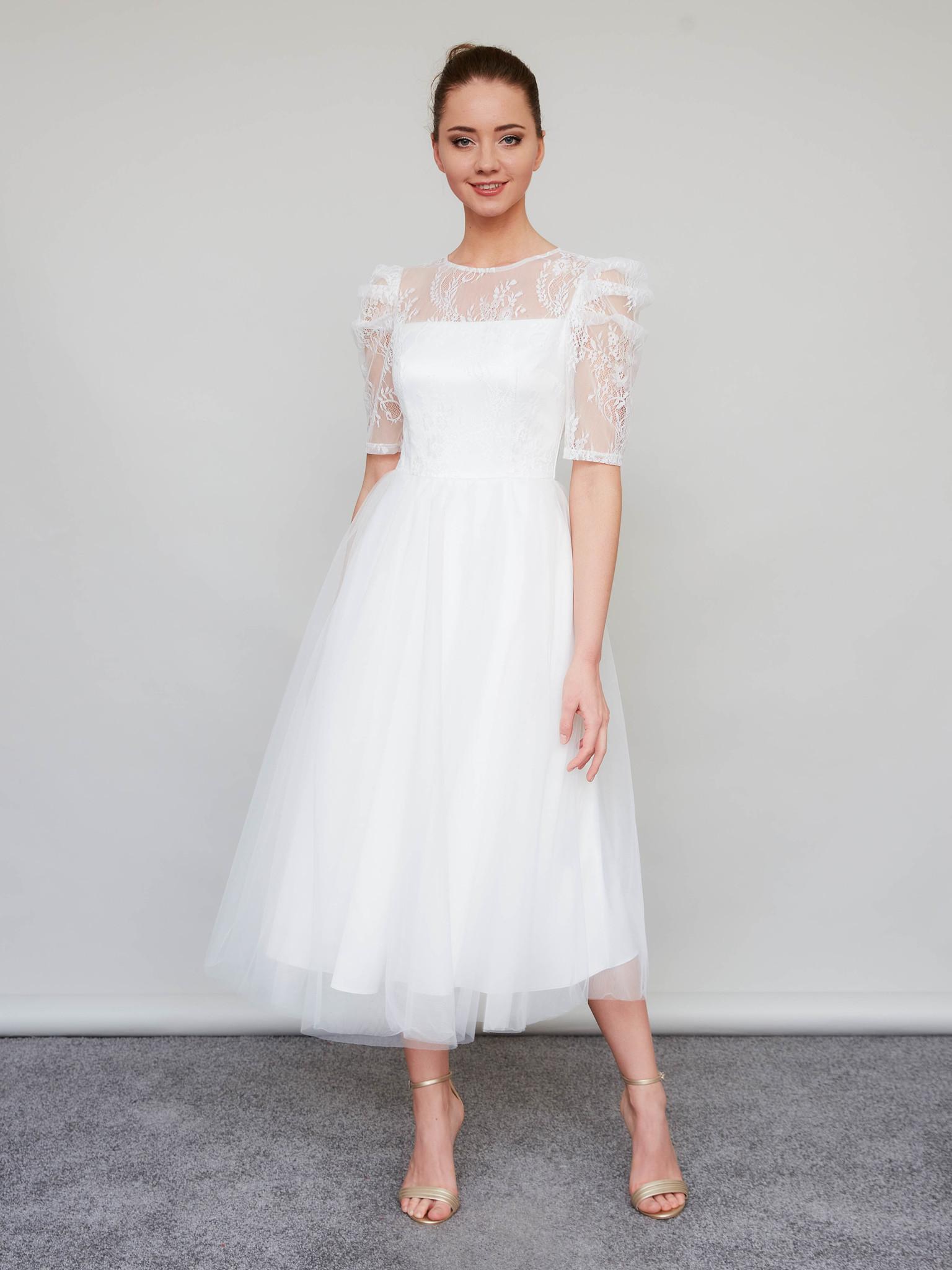 Свадебное платье со съемными пышными рукавами миди (молочный)