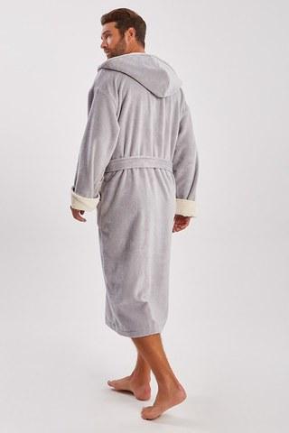 Мужской махровый халат из бамбука  929 серый PECHE MONNAIE