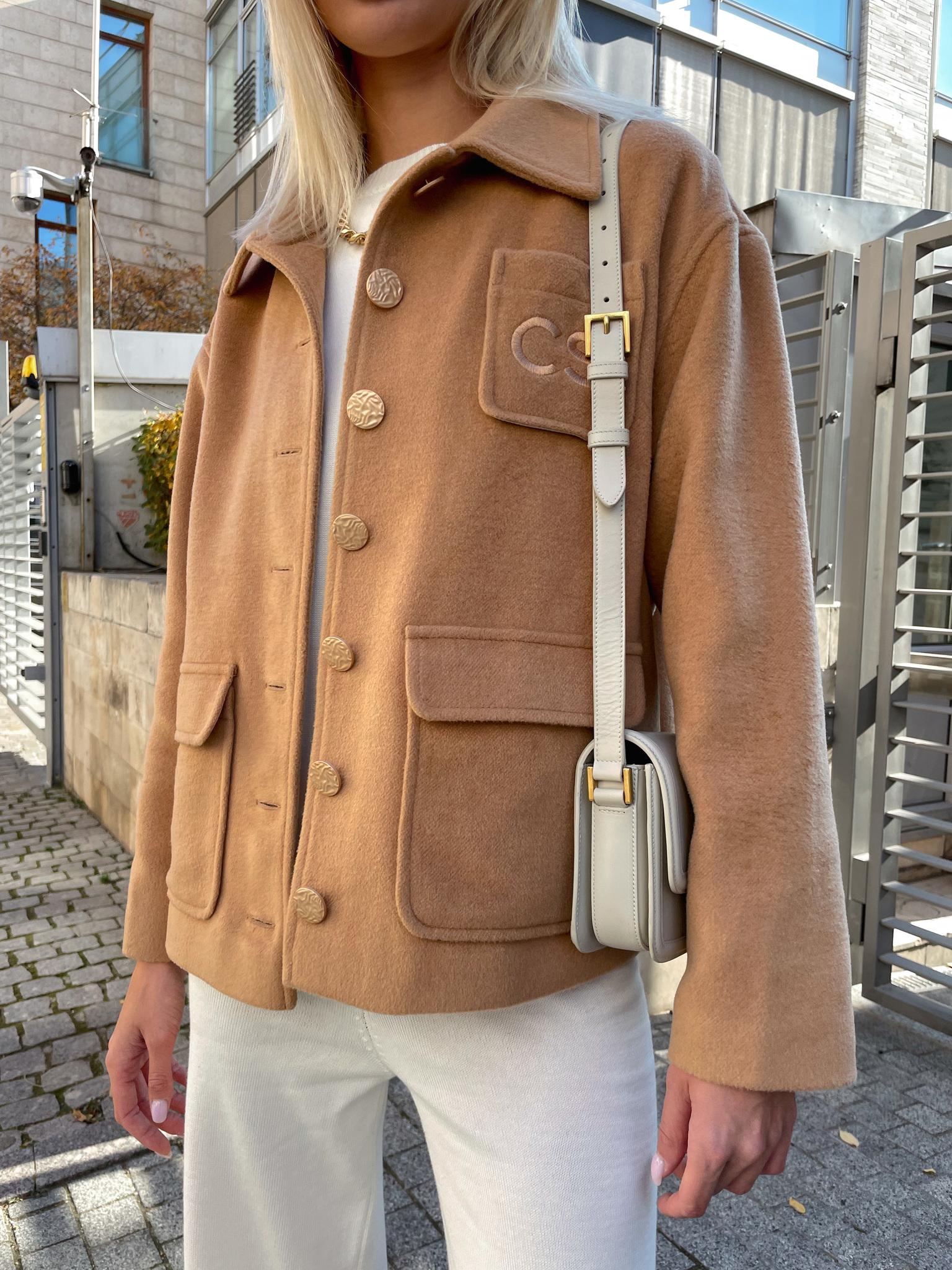 Пальто-рубашка с вышивкой CS (песочный)