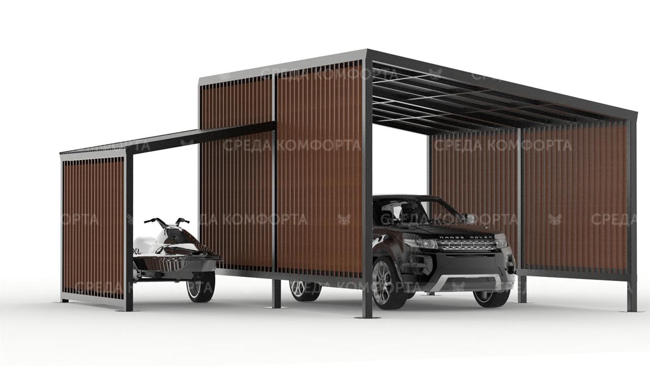 Навес автомобильный для участка загородного дома с местом для хранения мотоцикла, квадроцикла, или лодки AVNVS0037