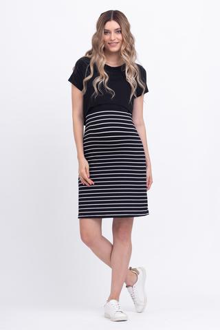 Платье для беременных и кормящих 12389 полоска черн/бел