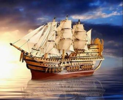 Картина раскраска по номерам 40x50 100-пушечный линейный корабль первого ранга (арт. RA3368)