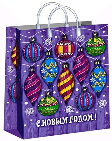 Подарочные пакеты 30х40+10 (150) новогодние из мягкого пластика (Диковинка)