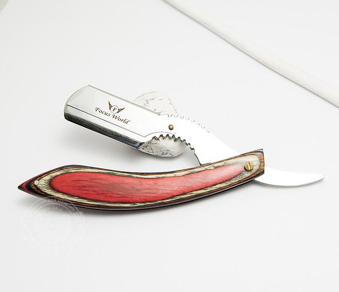 RAZ268-4 Бритва шаветка с красивой красной рукояткой из дерева фото 03