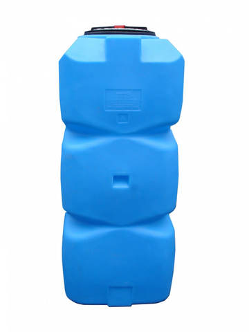 Танк 500л вертикальный с фланцем и крышкой с клапанами, со сливом д/воды, (Синий), (650 х 1460 х 380 мм), [Т500ВФК2З]