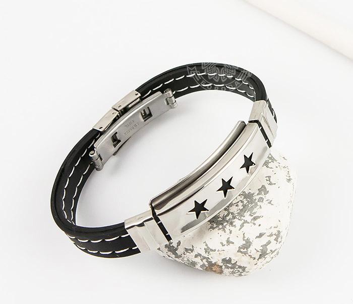SSBM-0255 Стильный мужской браслет «Spikes» со звездами из каучука и стали
