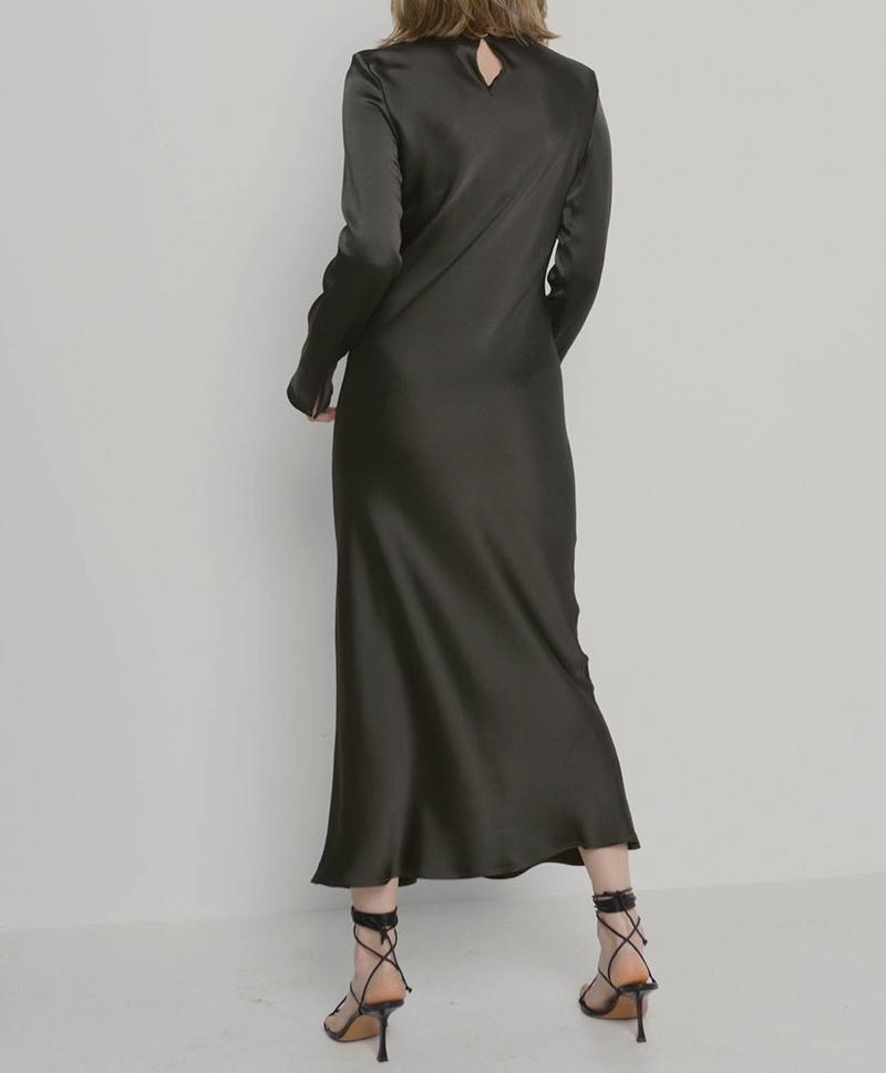 Платье шелковое хаки
