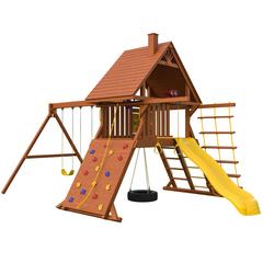 Детский городок New Sunrise Зарница с деревянной крышей