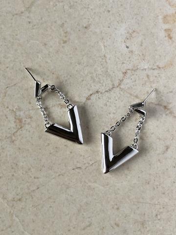Серьги Вики, серебряный цвет