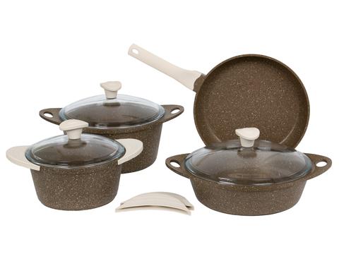 Набор посуды 7 предметов из литого алюминия с силиконовыми ручками DARIIS коричневый гранит, жаровня 26 см с крышкой, сковорода 26 см, кастрюля 2.8 л с крышкой, кастрюля 4.5 л с крышкой HUR-A-15249 / HUR-A-15133