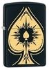 Зажигалка Zippo Spade, латунь с покрытием Black Matte, черный с козырным тузом, матовая, 36х12x56 мм