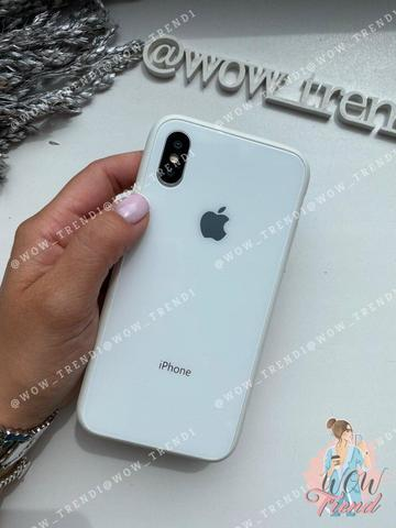 Чехол iPhone X/XS Glass Pastel color Logo /white/
