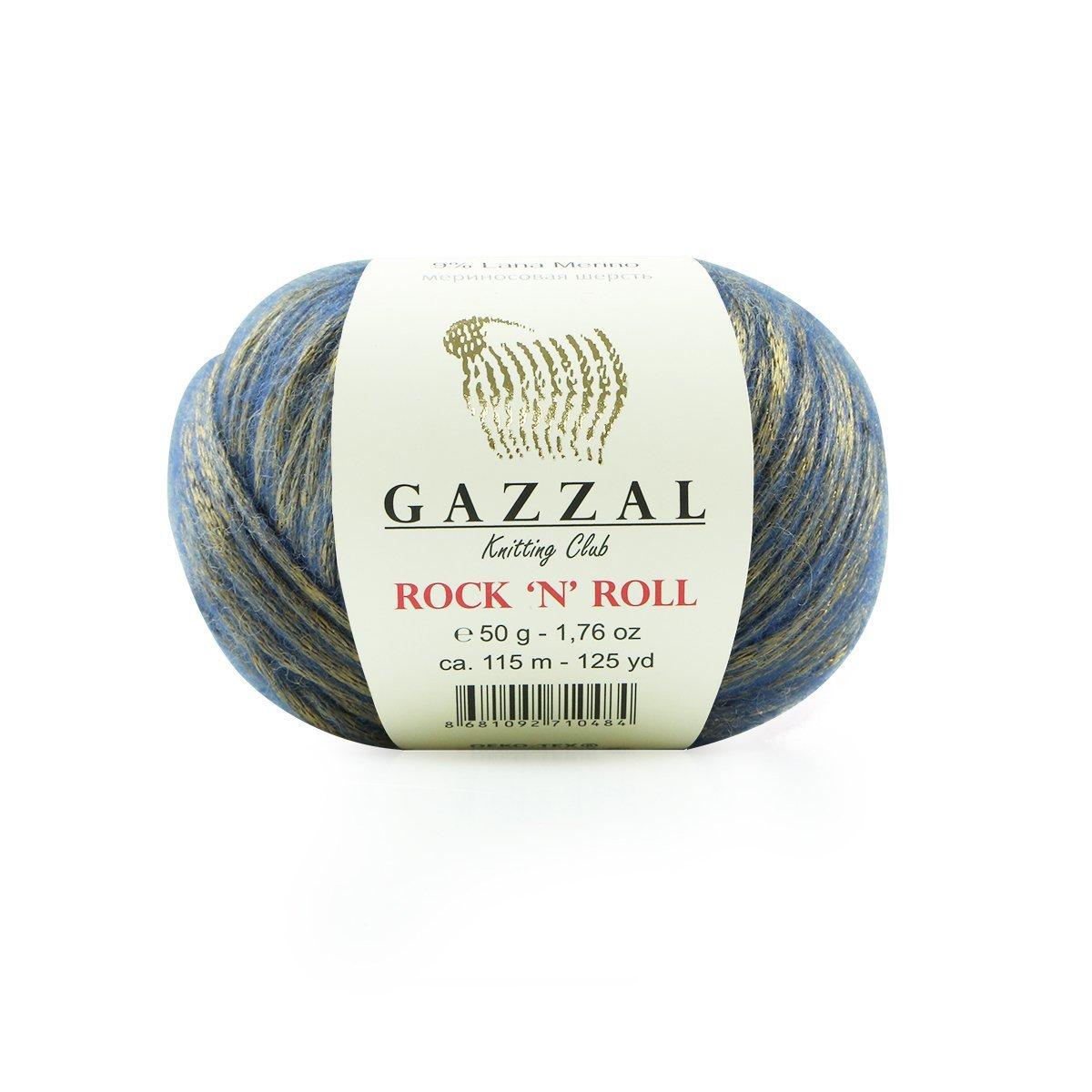 Пряжа Gazzal Rock n Roll 13184 джинс позолота