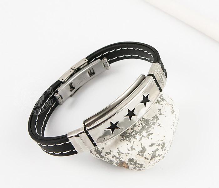 SSBM-0255 Стильный мужской браслет «Spikes» со звездами из каучука и стали фото 04