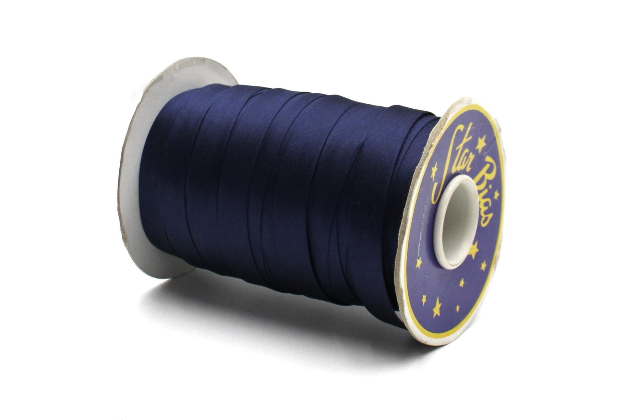 Бейка косая атласная,15 мм, синяя