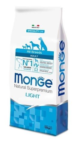 купить сухой корм Monge Speciality Line All Breeds Adult Light Salmone для взрослых собак всех пород низкокалорийный с лососем и рисом