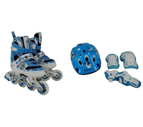 Набор для кат. на рол. коньках BW-906SET-BL, р.M (35-38), цв.син. ролики раздв, шлем, защита