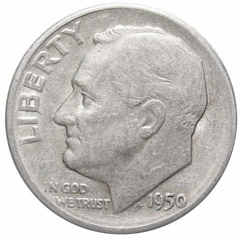 1 дайм (10 центов) 1950. США (D) VF Серебро