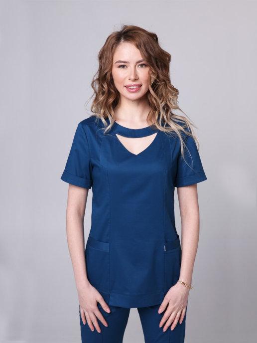 Медицинская блуза темно-бирюзового цвета