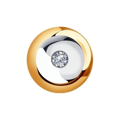 1030717- Подвеска круглая из золота  585 пробы с бриллиантом