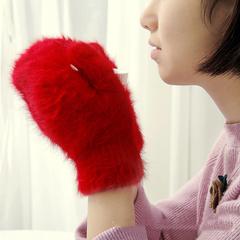 Пушистые женские варежки из ангоры, красные