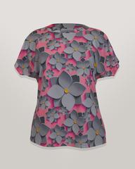 Блузка Emix цветы 3D к/р