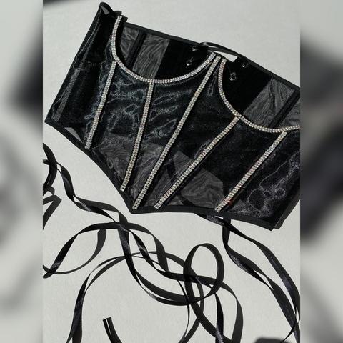 Roze Корсаж со стразами хамелеон с заостренным низом, Черный, S