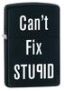 Зажигалка Zippo Can't , латунь с покрытием Black Matte, черный, матовая, 36х12x56 мм