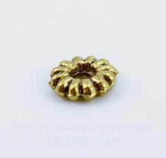 Бусина металлическая - спейсер 7х2 мм (цвет - античное золото), 10 штук