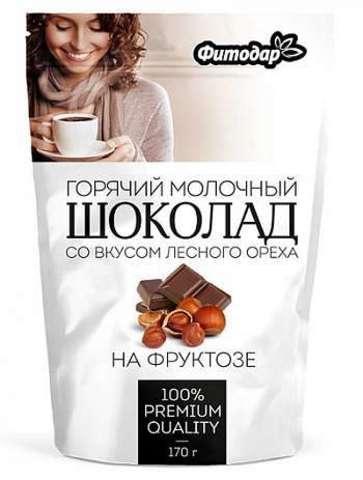 "Какао-напиток ""Горячий шоколад молочный"" со вкусум лесного ореха на фруктозе Фитодар, 170г"