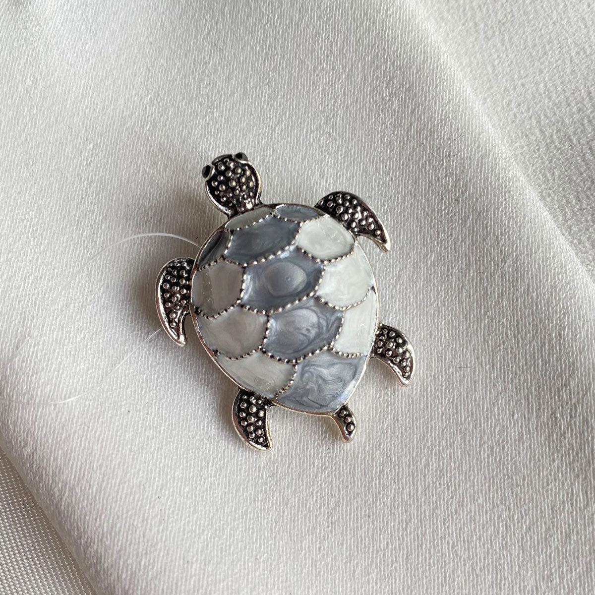 Брошь Черепаха эмаль серый чернение
