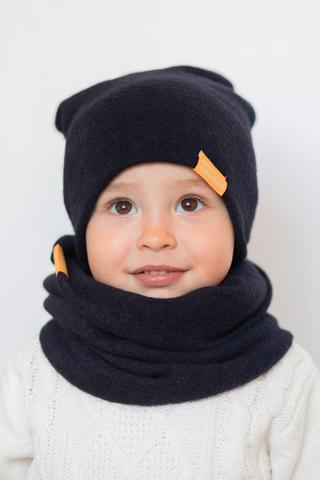 Детский снуд-горловинка из турецкой шерсти темно-синий