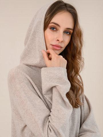 Женский джемпер с капюшоном бежевого цвета из шерсти и кашемира - фото 3