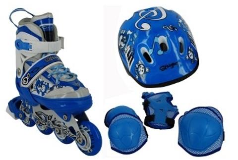 Набор для кат. на рол. коньках BW-908SET-BL, р.S (31-34), цв.син. ролики раздв, шлем, защита