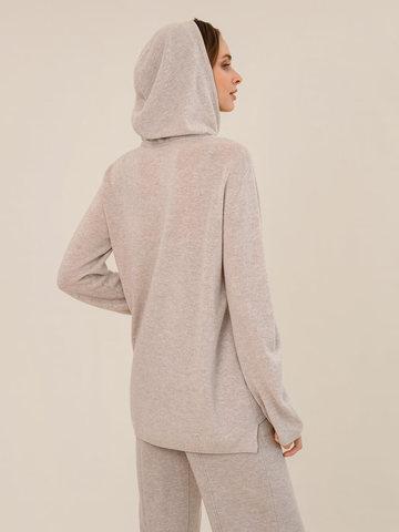 Женский джемпер с капюшоном бежевого цвета из шерсти и кашемира - фото 4