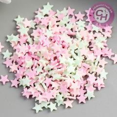 Звезды разноцветные мини пластиковые, 5 мм, набор 10 гр.