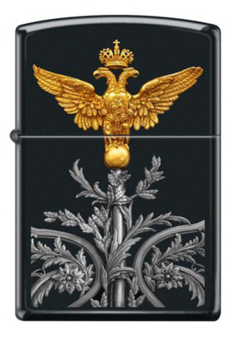 Зажигалка Zippo Двуглавый орёл, латунь/сталь с покрытием Black Matte, чёрная, матовая, 36x12x56 мм